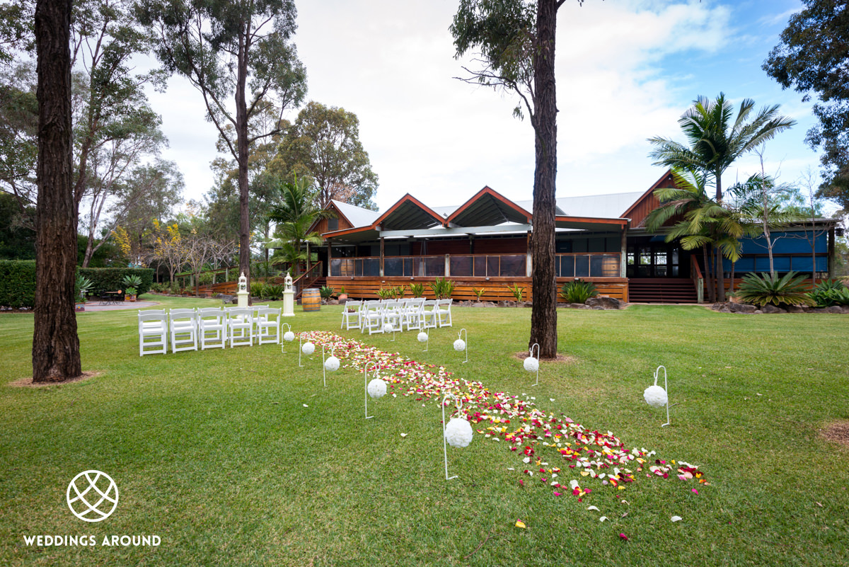 Wedding Ceremony in front of the Members Lodge
